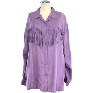 SILK MIST Lavender Silk Fringe Shirt #Y02